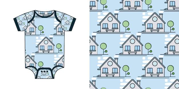 New born baby bodysuit in vector seamless pattern