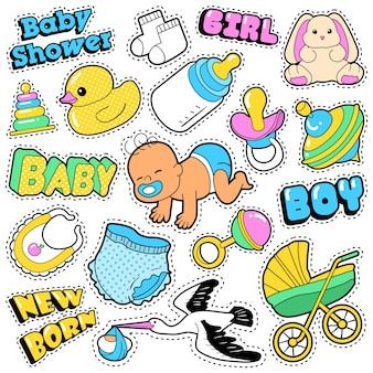 コウノトリとおもちゃの新しい生まれた赤ちゃんのステッカー、パッチ、バッジスクラップブックのベビーシャワーの装飾セット。コミックスタイルを落書き