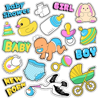 New born baby stickers, patches, badges scrapbook baby shower decoration set with stork and toys.  doodle comic style