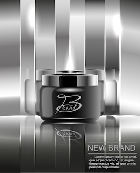 A new brand of cosmetics for the body cream. black plastic jar for design on a mirrored silver background.