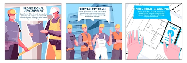 New buildings illustration with three specialist team and individual planning headlines