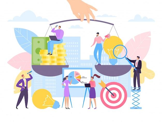 新しいビジネス投資アイデアコンセプト、イラスト。創造的なプロジェクトと金融のバランス、お金とスケールの電球