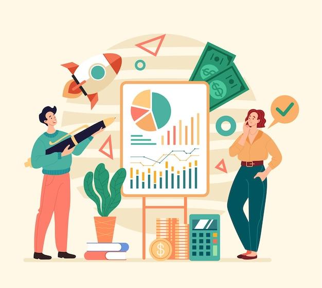 New business project investment development teamwork concept flat