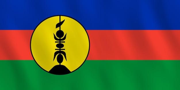 물결치는 효과가 있는 뉴칼레도니아 국기, 공식 비율.