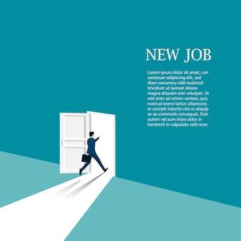 新しいキャリアコンセプト。歩いているビジネスマンは、新しい仕事の機会を探してドアを開けます。ビジネスキャリアの始まり。リーダーシップ、スタートアップ、ビジョン、ベクトルイラストフラット