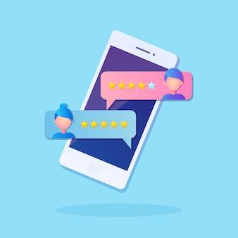 휴대폰의 새로운 채팅 메시지 알림. 핸드폰 화면에 sms 거품. 별점 매기기. 고객 피드백, 고객 리뷰. 마케팅 서비스를위한 설문 조사. 채팅하는 사람들.