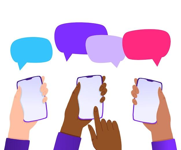 휴대폰의 새로운 채팅 메시지 알림 휴대폰 화면의 sms 거품