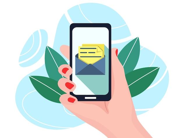 Уведомление о новых сообщениях чата на плоской иллюстрации телефонного сообщения в мультяшном плоском стиле.