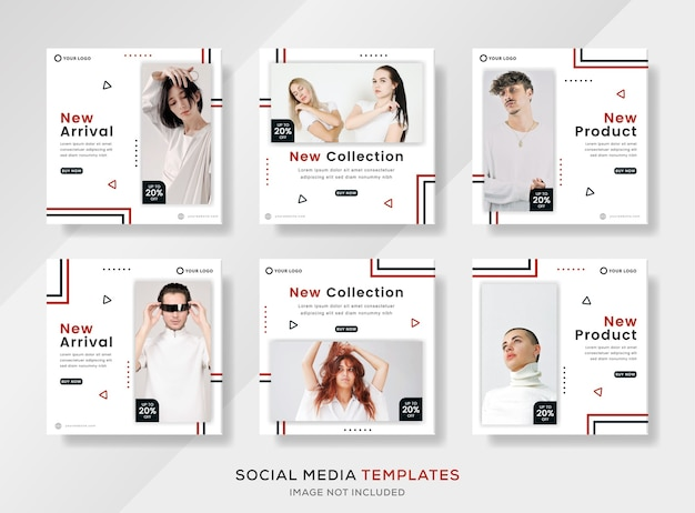 새로운 의류 컬렉션 소셜 미디어 템플릿