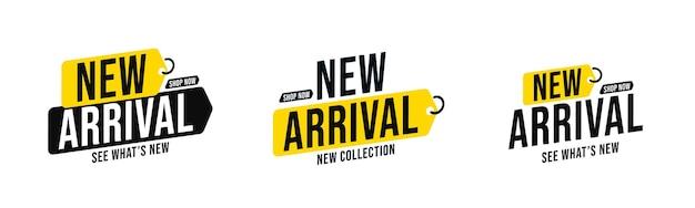 Набор ярлыков с символикой продукта прибытия новой коллекции для магазина