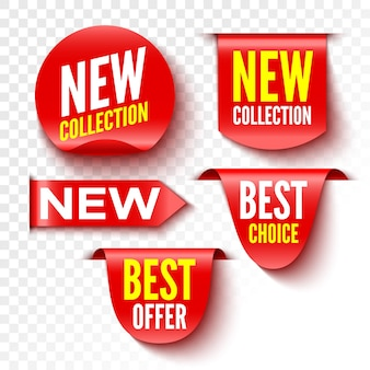 New collection, best choice and offer banners. red sale tags. stickers.