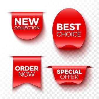 새로운 컬렉션, 최선의 선택, 지금 주문 및 특별 행사 배너. 레드 판매 태그. 스티커.