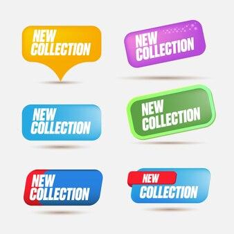 새로운 컬렉션 다채로운 스티커 세트 배너