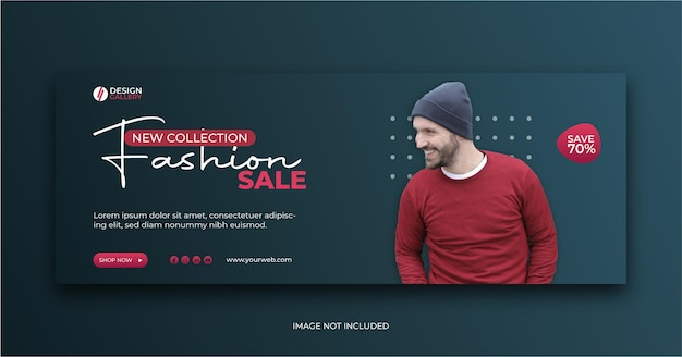 New collection fashion sale banner social media cover ad template