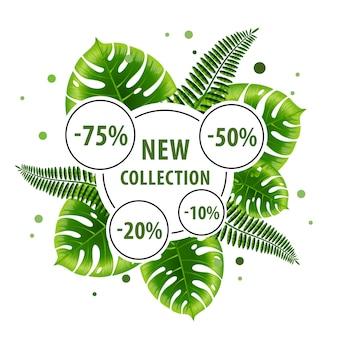 Nuova collezione poster design verde con foglie tropicali e adesivi sconto.