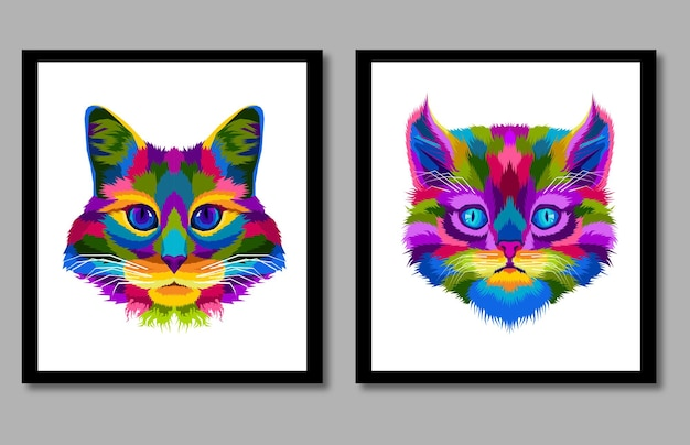 New collection head cat pop art portrait in frame