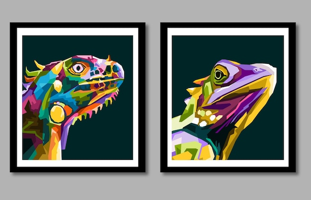 New collection iguana chameleon pop art portrait in frame