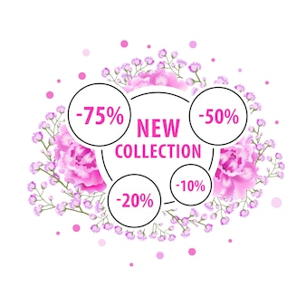 New collection label design with pink flowers, dots and discount stickers.