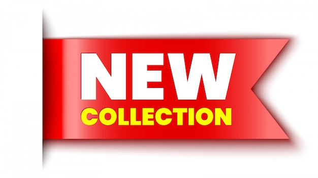 New collection red banner. sticker.  illustration.