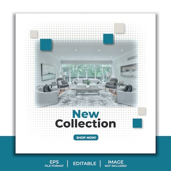New collection social media post template, furniture interior elegant living room