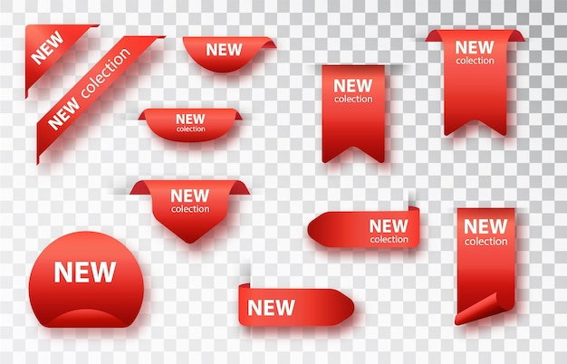 Nuovo set di tag di raccolta. distintivi ed etichette di vettore isolati.