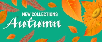 New collections Autumn lettering with orange leaves.