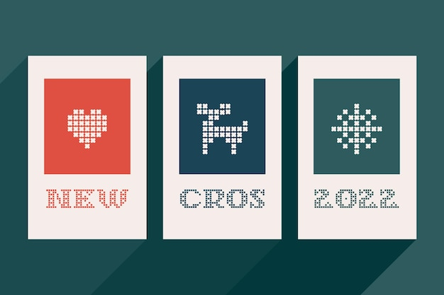 New cros 2022 lettering is made of thick round knits flat style sign with a set of bonus icons