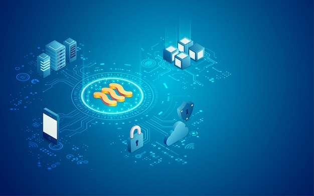 New cryptocurrency libra in isometric view