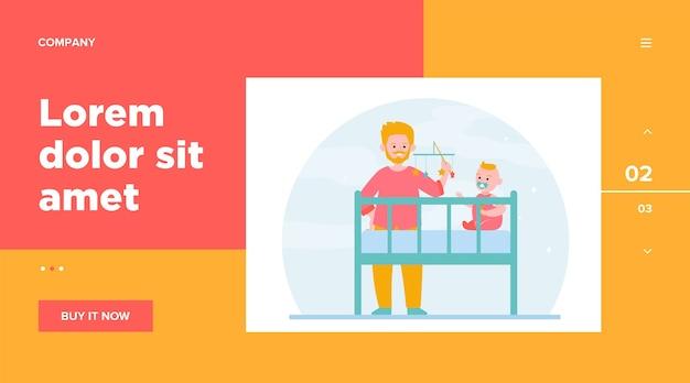 ベビーベッドで赤ちゃんと遊ぶ新しいお父さん。がらがらのおもちゃ、眠りのためのなだめるような子供。ウェブサイトのデザインやウェブページのランディングのための子供時代、育児、親子関係の概念