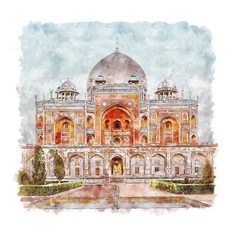New delhi india watercolor sketch hand drawn illustration