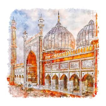 뉴 델리 인도 수채화 스케치 손으로 그린 그림