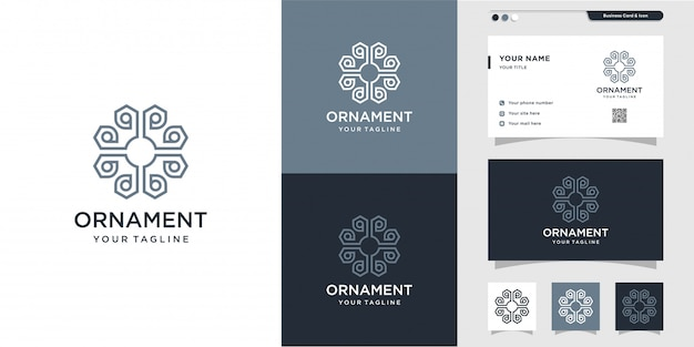 New design ornament with line art logo and business card, luxury, abstract, beauty, icon, interior premium