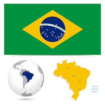 New detailed flag with map world of brazil