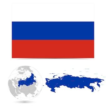 Новый подробный флаг с картой мира россии