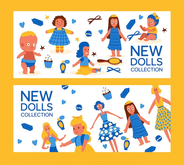 New dolls collection set of banner
