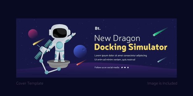 New dragon docking simulator facebook cover page template