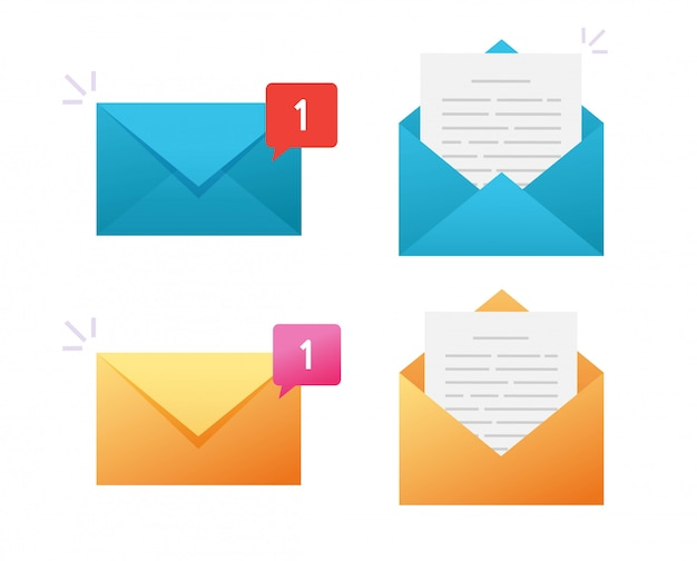 New email icon vector or electronic mail notification notice message flat design