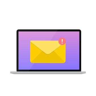 New email on the laptop screen notification concept.  illustration