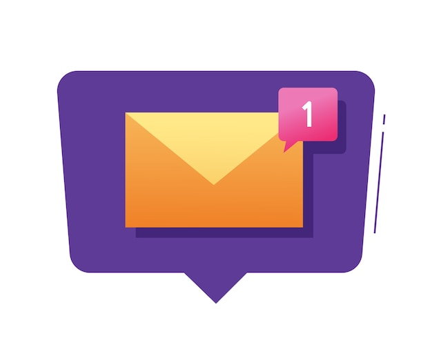 New email message notice  bubble and modern electronic mail notification inbox incoming text sms illustration