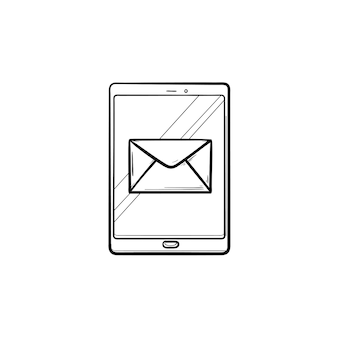 New email notification on mobile phone hand drawn outline doodle icon. red e-mail message, inbox concept