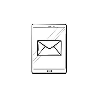휴대 전화 손으로 그린 개요 낙서 아이콘에 새 이메일 알림. 빨간색 전자 메일 메시지, 받은 편지함 개념