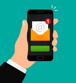 Новое уведомление по электронной почте на иллюстрации мобильного телефона