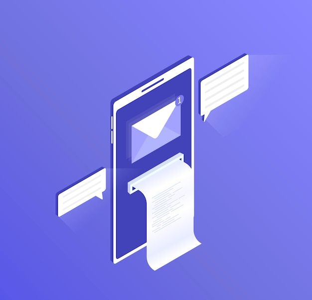 Новое уведомление по электронной почте на мобильном телефоне, откройте экран смартфона с открытым сообщением и прочитайте значок почтового конверта. современная изометрическая иллюстрация