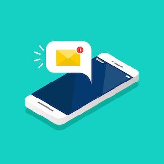 Новое уведомление по электронной почте на изометрическом экране смартфона. векторная иллюстрация