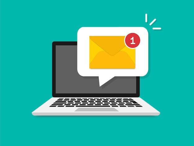 Новое письмо на экране ноутбука. концепция уведомления по электронной почте