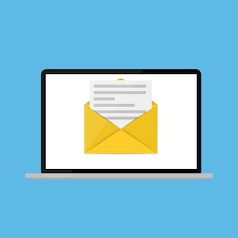 Новая электронная почта на концепции уведомления экрана ноутбука. иллюстрация