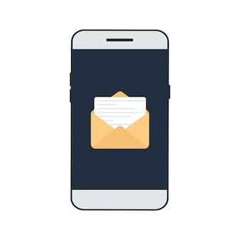 스마트폰 화면에 새 이메일이 표시됩니다. 이메일 알림 개념입니다. 화면에 이메일 애플리케이션이 있는 스마트폰