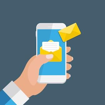 スマートフォン画面通知コンセプトの新しいメール