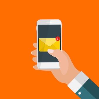 スマートフォン画面通知コンセプトの新しいメール。