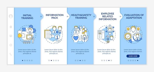 New employee orientation onboarding  template. responsive mobile website with icons. responsibilities of job and experience of new worker. webpage walkthrough step screens. rgb color concept